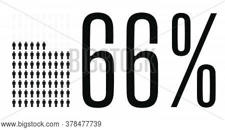 Sixty Six Percent People Graphic, 66 Percentage Diagram. Vector People Icon Chart Design For Web Ui