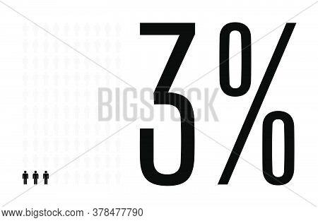Three Percent People Graphic, 3 Percentage Diagram. Vector People Icon Chart Design For Web Ui Desig