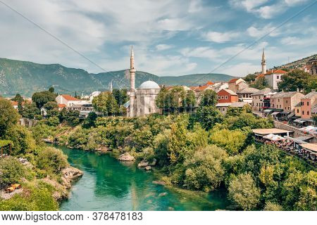 Mostar Old Town and Neretva river at sunny day, Bosnia and Herzegovina
