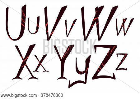 Beast Scratch Alphabet. Hand Drawn Lettering For Halloween Design. U, V, W, X, Y, Z Letters For Logo