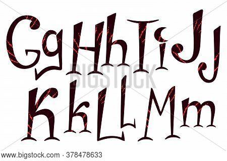 Beast Scratch Alphabet. Hand Drawn Lettering For Halloween Design. G, H, I, J, K, L, M Letters For L