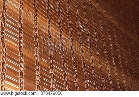 Wooden Background. Blinds For The Window. The Wooden Curtain.