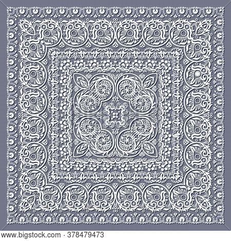 Abstract Ethnic Nature Lace Illustration. Ornamental Openwork Napkin.