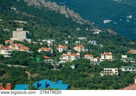 View Of The Foros Village From Above In Crimea. Resort