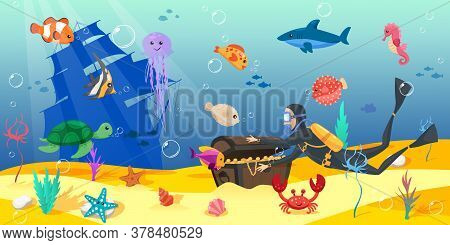 A Scuba Diver Sails For A Treasure Box. Underwater Landscape With Sunken Ship And Chest. Shell, Crab