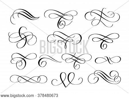 Vector Swirl Flourishes Ink Pen Calligraphy Set