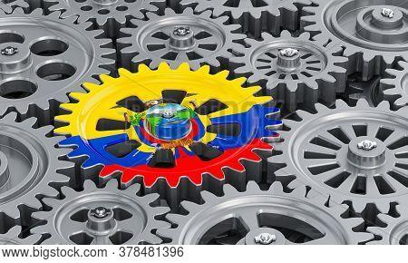 Ecuadorian Flag On The Gearwheel, Business Industrial Concept. 3d Rendering