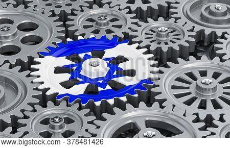 Israeli Flag On The Gearwheel, Business Industrial Concept. 3d Rendering