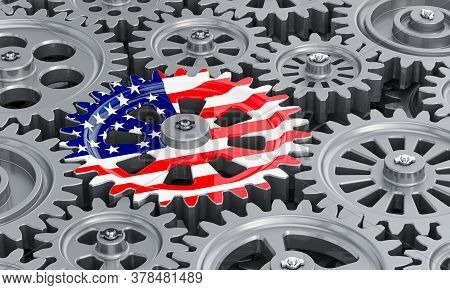 The Usa Flag On The Gearwheel, Business Industrial Concept. 3d Rendering