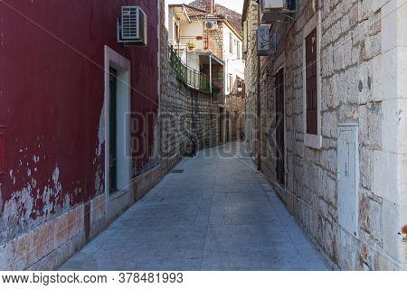 Historic Street Of Stari Grad On Hvar Island In Croatia