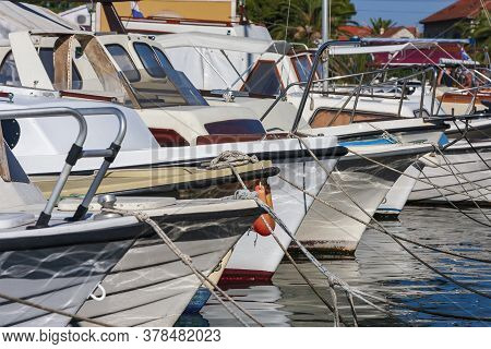 Boats And Landscape In The Historic Port Town Of Stari Grad On The Island Of Hvar In Croatia.