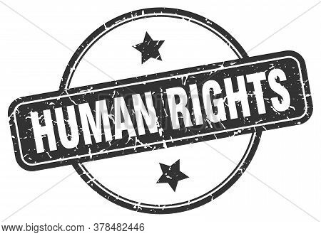 Human Rights Grunge Stamp. Human Rights Round Vintage Stamp