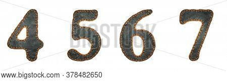 Set of numbers 4, 5, 6, 7 made of leather. 3D render font with skin texture isolated on white background. 3d rendering