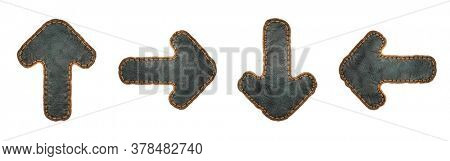 Set of symbols up arrow, right arrow, arrow to down and left arrow made of leather. 3D render font with skin texture isolated on white background. 3d rendering