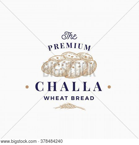 Premium Challa Bread Abstract Sign, Symbol Or Logo Template. Hand Drawn Loaf And Wheat With Premium