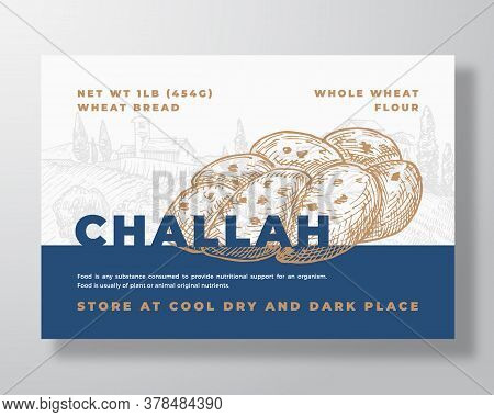 Challah Bread Label Template. Abstract Vector Packaging Design Layout. Modern Typography Banner With