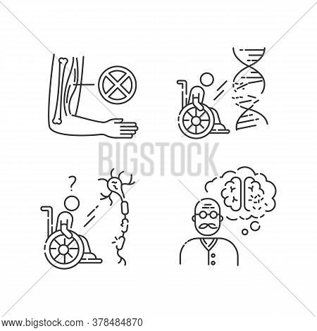 Disability Linear Icons Set. Muscular Dystrophy. Chronic Genetic Disease. Paralyzed Patient. Customi