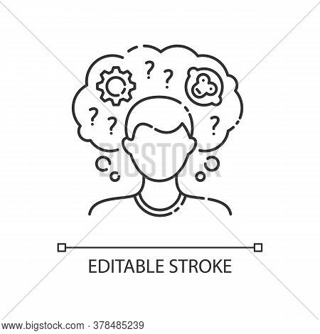Intellectual Disability Linear Icon. Person With Short Term Memory Loss. Think In Confusion. Thin Li