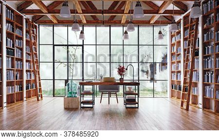 the home office room with great library. 3d render interior