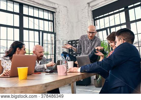 Business Negotiation, Male Partners Arguing, Funny Easygoing Man Keeping Calm In Stressing Situation