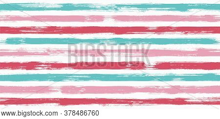 Old Watercolor Brush Stripes Seamless Pattern. Ink Paintbrush Lines Horizontal Seamless Texture For