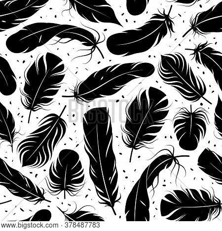 Feather Seamless Pattern. Curved Black Feathers Silhouettes, Graphic Simple Shapes Pen Decorative El