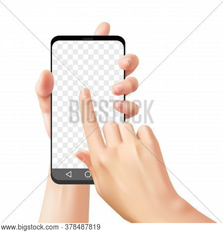 Hands Holding Smartphone. Woman Uses Mobile Phone For Online Communication Chatting With App, Realis