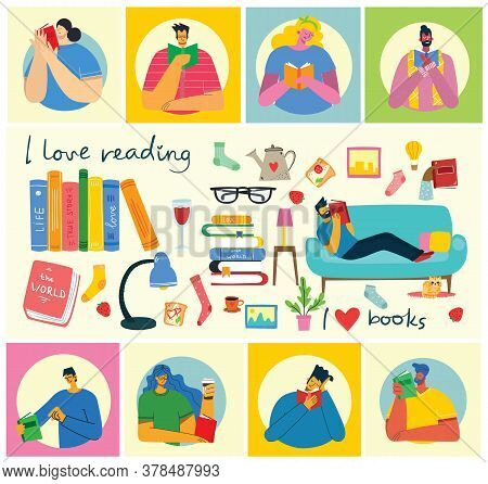 Vector Concept Illustrations Of World Book Day, Reading The Books And Book Festival In The Flat Styl