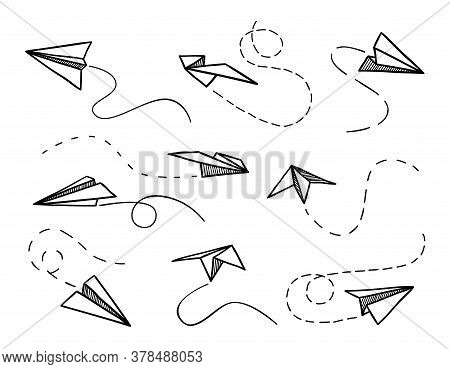 Paper Airplane. Flying Origami Planes From Different Angles, Contour Airplanes And Dotted Line, Trav