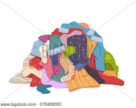Dirty Clothes Pile. Messy Laundry Heap With Stains, Different Soiled Smelly Apparel, Soiled Fabric O