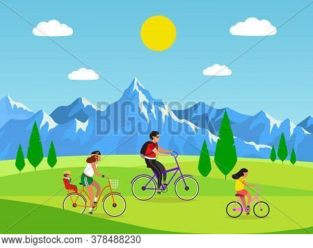 Family Cycling. Active Mom Dad And Kids Riding Bikes In Mountains, Outdoor Activities And Sport Or W