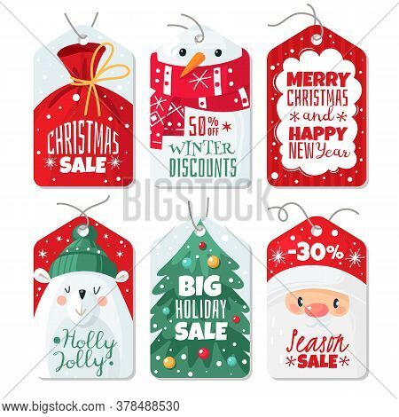Christmas Tag. Decorative Gift Labels With Santa And Eve, Polar Bear And Snowman, Tags With Letterin