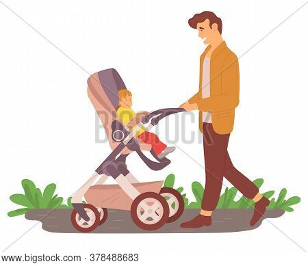 Parent Walking With Kid In Buggy, Smiling Dad Going With Child In Stroller By Road, Father And Son C