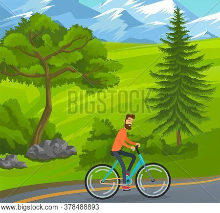Happy Bearded Man Riding Bicycle On Road Near Green Trees, Hills At Snowy Mountains Background. Chee
