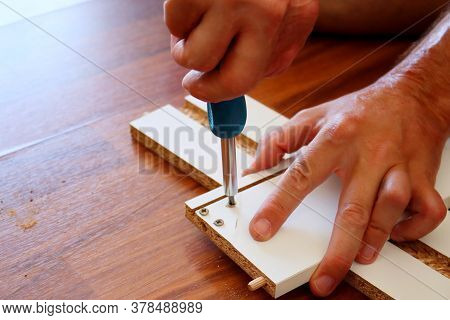 Carpenter's Hand Holds A Screwdriver And Tightens The Screw