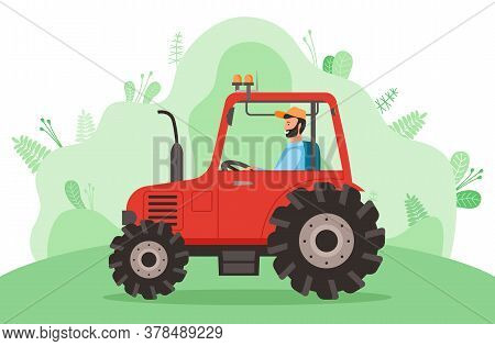Driving Tractor On Road Near Meadow On Nature Landscape. Bearded Farmer Driving Tractor And Siting I