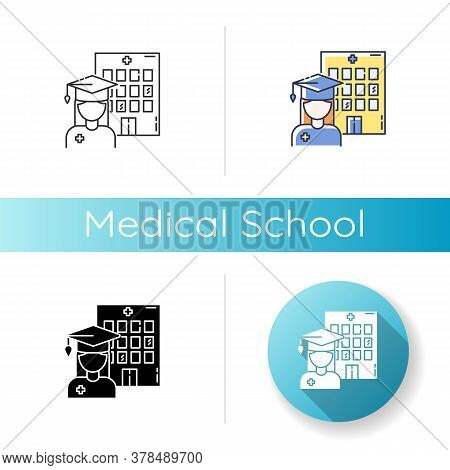 Medical School Icon. Linear Black And Rgb Color Styles. Vocational Education, Professional Universit