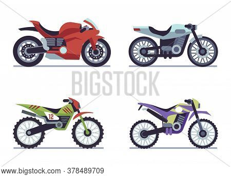 Set Of Sports Motorcycles. Racing Motorcycle, Collectible Vehicles For Road Racing, Speed Race Moder