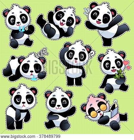 Set Of Stickers With Cute Pandas. Cute Asian Adorable Bears In Different Poses And Emotions, Eating