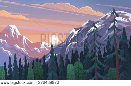 Mountains Landscape, Abstract Lilac Sunset Panoramic View, Vector Illustration. Mountainside Forest