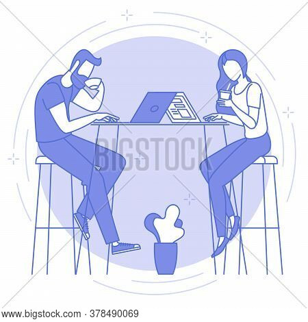 Thin Line Blue Icon Of Remote Work And Freelance. Young Man And Women Are Working Remotely In Coffee