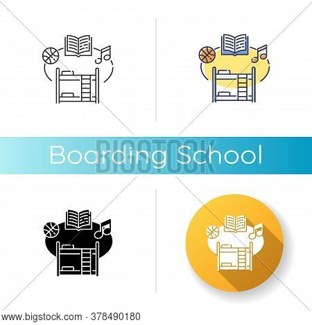 Boarding School Icon. Linear Black And Rgb Color Styles. Educational Institution With Extracurricula