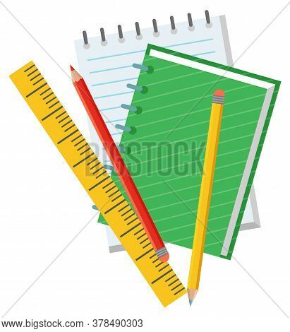 Notebook And Pencil, Empty Paper And Ruler. School Objects, Chancellery Or Education Accessory, Text