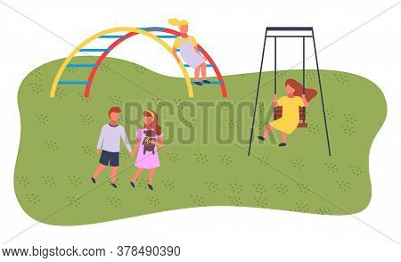 Children Spending Time At Playground, Kindergarten. Kids Have Fun, Recreation Outdoors At Summer. Gi