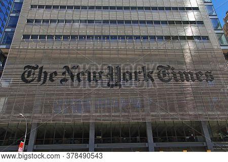 New York / United States - 02 Jul 2017: The Newspaper New York Times In New York City, United States
