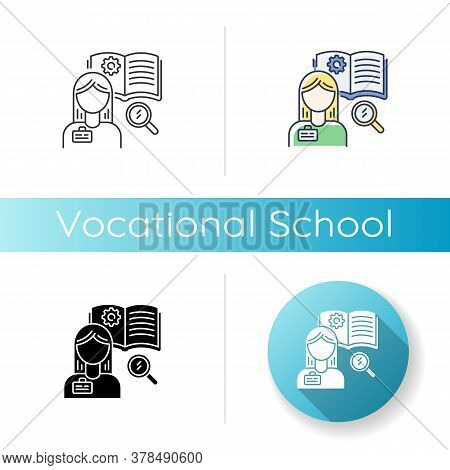 Vocational School Icon. Linear Black And Rgb Color Styles. Professional Skills Development, Specialt