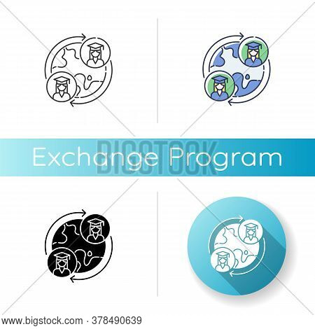 Exchange Program Icon. Linear Black And Rgb Color Styles. International Students Swap. Opportunity F