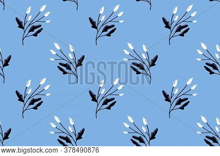 Blue Nordic Pattern With White Berry And Branche Of Briar. Delicate Texture For Textile Design, Vect