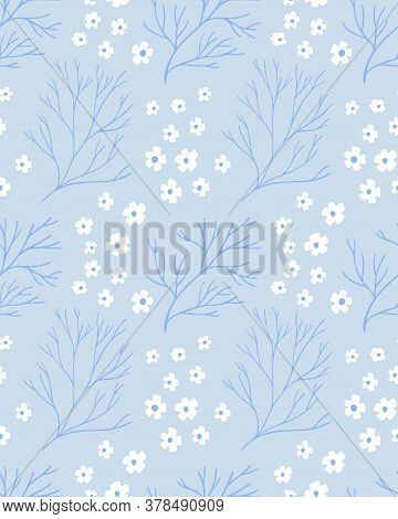 Blue Nordic Pattern With White Flowers And Branches. Delicate Texture For Textile Design, Vector Rep