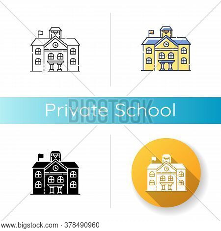 Private School Icon. Linear Black And Rgb Color Styles. Prestigious Educational Establishment, Indep